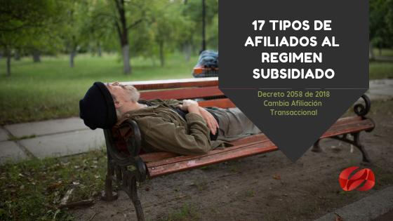 17 tipos de afiliados al regimen subsidiado
