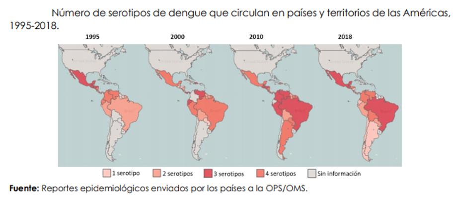 Número de serotipos de dengue que circula en paises y territorios