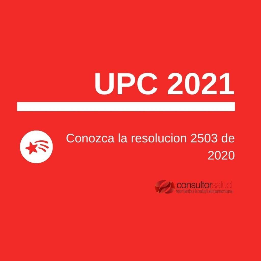 Unidad de Pago por Capitacion 2021 resolucion 2503 de 2020