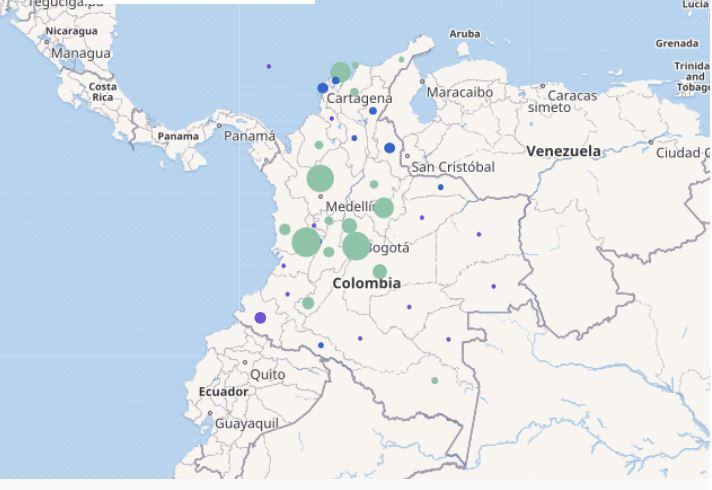 mapa contagios peronal de salud