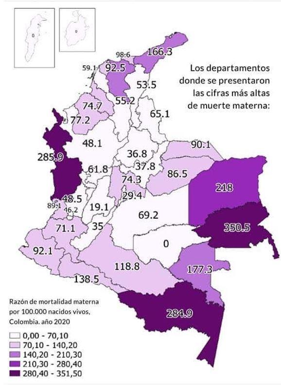 mortalidad materna por departamento