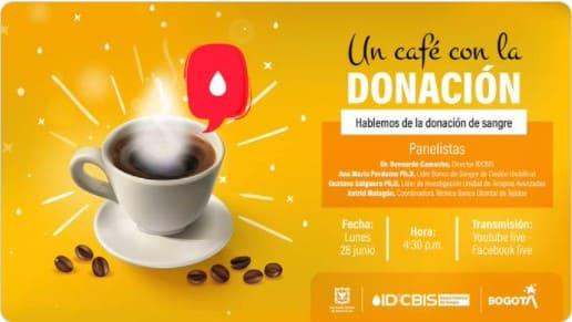 Tómate un café virtual este 28 de junio para hablar sobre donación de sangre.