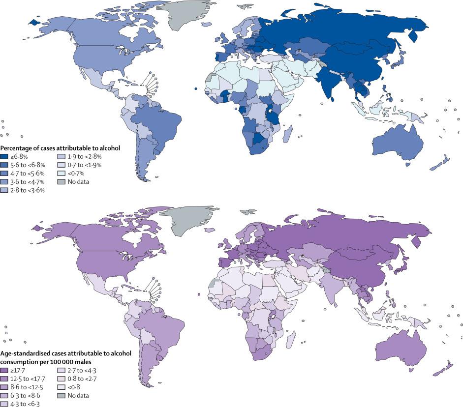 tasa de cancer y consumo de alcohol paises